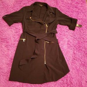 Sharagano Navy Blue Belted Wrap Around Dress